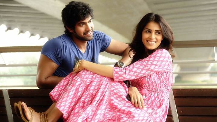 Genelia D'Souza And Rana Daggubati Sitting Pose In Naa Ishtam Movie